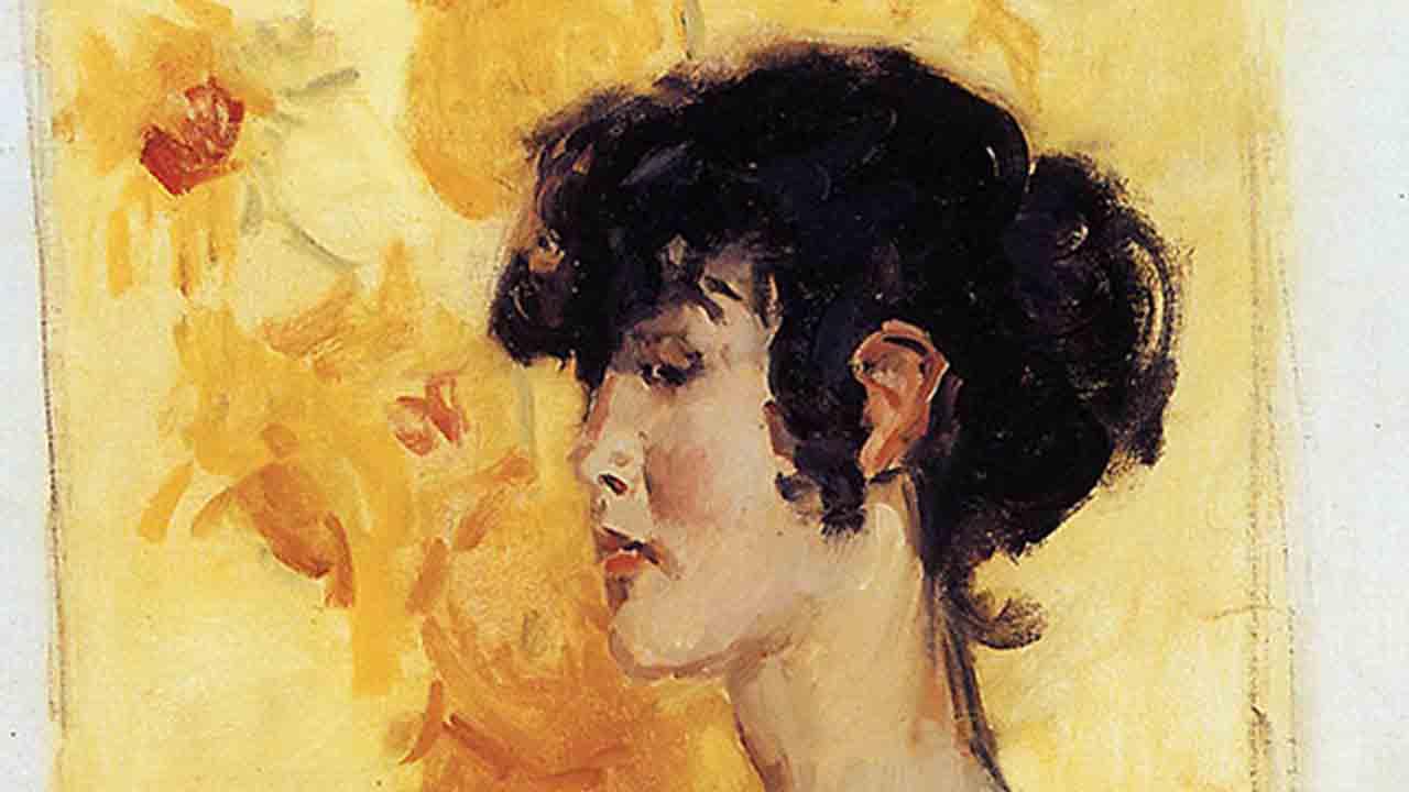 vrouw in profiel voor zonnebloemen van van gogh detail.jpg