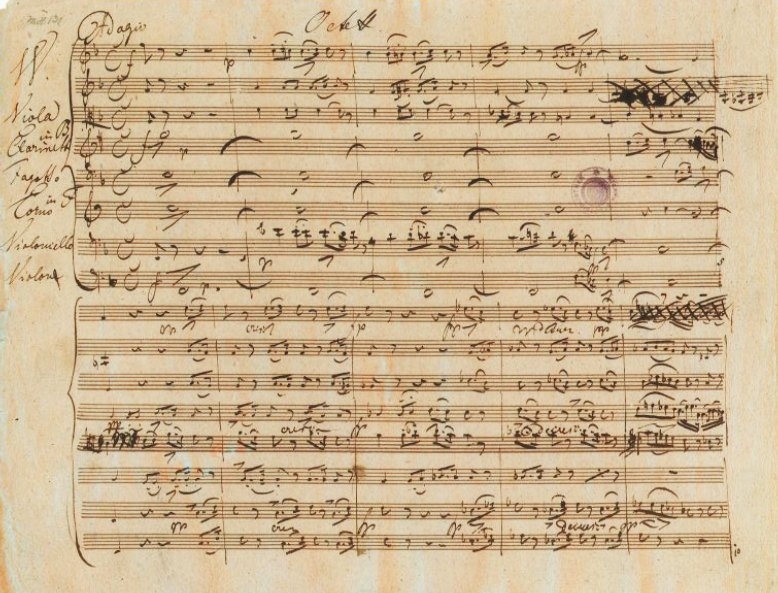 De oorspronkelijke bladmuziek van Schuberts 'Octet'
